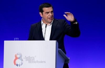 Алексис Ципрас произнася ключовата си реч. СНИМКА: РОЙТЕРС