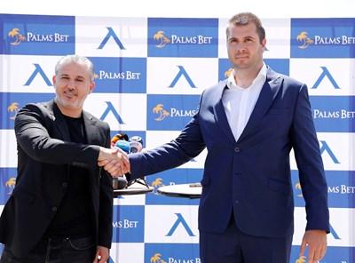 """Изпълнителният директор на """"Левски"""" Павел Колев и Лъчезар Петров, член на борда на директорите на Palms Bet, говориха за партньорството между клуба и компанията. Договорът трябвало да бъде финализиран на 13 март, когато обаче бе обявено извънредното положение."""