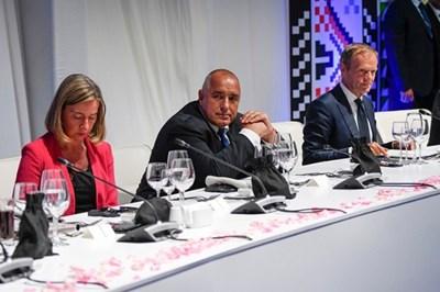 Федерика Могерини, Бойко Борисов и Доналд Туск СНИМКА: Фейсбук/Българско председателство на Съвета на ЕС