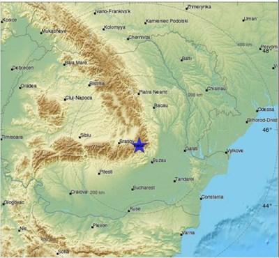 Епицентърът на земетресението Карта: Средиземноморски сеизмологичен център