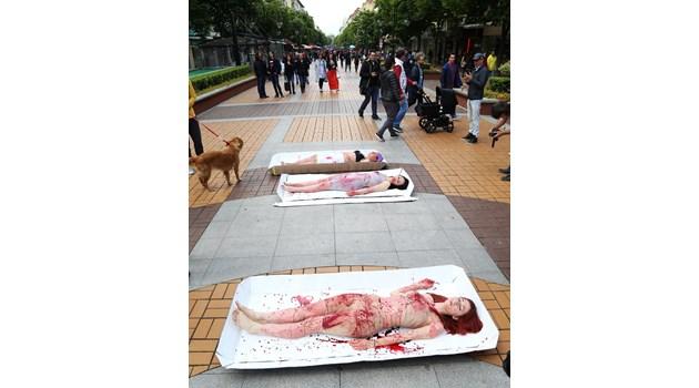 Окървавени жени в тарелки на протест срещу месоядните