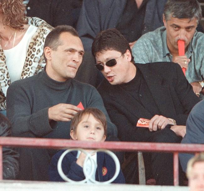 """Всички собственици на """"Любослав Пенев"""" ООД - Божков, Любо Пенев и Стойне Манолов, гледат мач."""