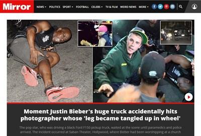 """Поп звездата Джъстин Бийбър случайно блъсна фотограф с пикапа си след църковна служба в Лос Анджелис. Факсимиле: """"Дейли Мирър"""""""