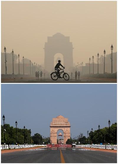 Заради коронавируса небето над Индия отново стана синьо СНИМКИ: Ройтерс