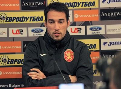 Ивелин Попов на пресконференцията преди квалификацията за Евро 2020 срещу Черна гора. СНИМКА: РУМЯНА ТОНЕВА
