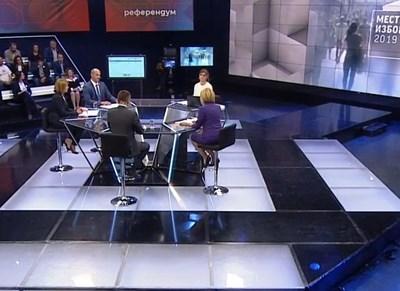 Четиримата кандидати за кмет на столицата Йорданка Фандъкова, Мая Манолова, Ангел Джамбазки и Борислав Игнатов по време на дебата  СНИМКА: БНТ