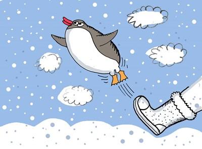 Пингвините са горди птици. Докато не ги сриташ, няма да полетят