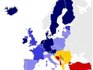 Страните в Европа, разделени на групи според цялостния си напредък. Графика: Проучване Индекс на настигането