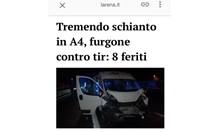 Осем българи ранени при пътен инцидент до Верона заради заспиване на волана