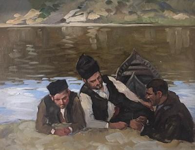 Картината на Марио Жеков с тримата лодкари е рядка в творчеството на мариниста.