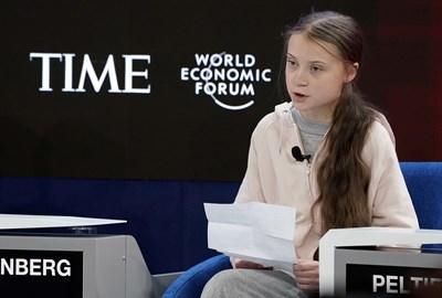 Грета Тунберг говори на форума в Давос. СНИМКА: РОЙТЕРС
