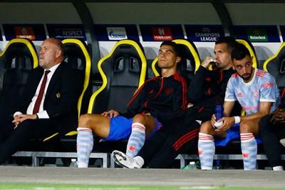 Физиономията на Кристиано Роналдо ясно изразява настроението му след смяната в Берн, а краят на мача със сигурност е вгорчил още повече вечерта на звездата. СНИМКА: РОЙТЕРС