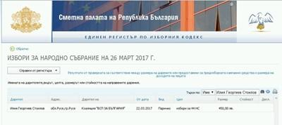 Братът на депутата Стоилов е дарил 450 лв. за предизборната кампания на БСП