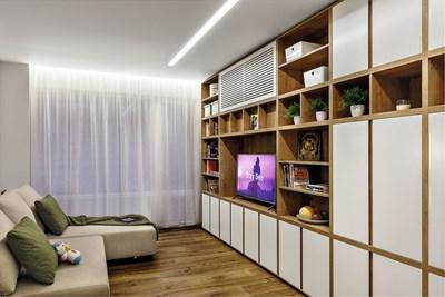 Март - Арх. Андрей Андреев - Андрей Андреев Груп: След сериозното си преустройство този апартамент с площ от 74 кв. м получава функционален и естетически издържан интериор, в който бившата кухня вече е детска стая