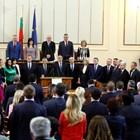 """Кабинетът """"Борисов"""" при клетвата му преди 4 г. Сега не е ясно кога избраните за депутати министри ще положат клетвата в НС."""