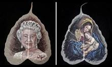 Индийски худоник рисува портрети върху листа