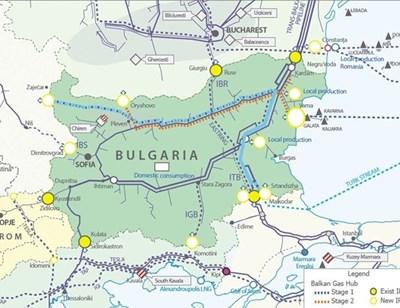 """Схема на газопроводите, по които ще се транспортира газът от """"Турски поток"""" и които са част от газоразпределителния хъб """"Балкан""""."""