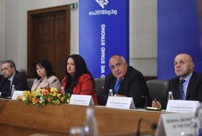 Премиерът Бойко Борисов присъства на срещата с постоянните представители към ЕС на държавите членки заедно с министри от кабинета.  СНИМКА: МИНИСТЕРСКИ СЪВЕТ