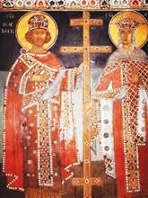 Стенопис на Св. Константин и Елена в Кремиковския манастир