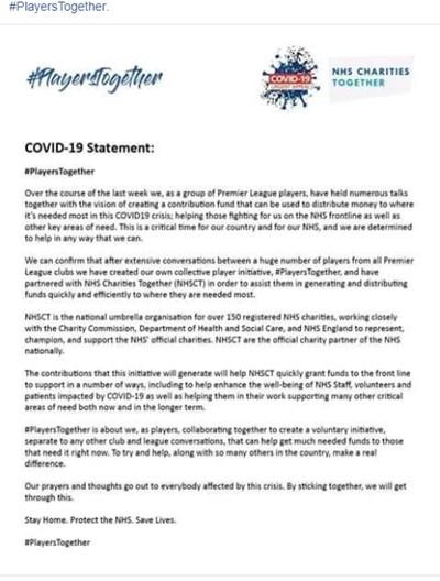 Декларацията на футболистите, разпространена във фейсбук.