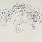 Шарж на Радой Ралин от 1983 г., рисуван с туш от Борис Димовски