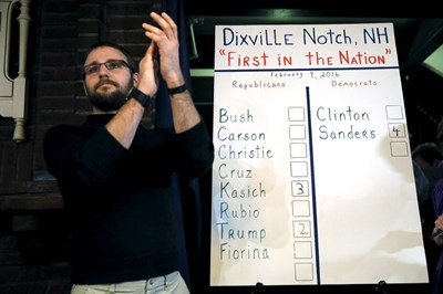 Жителите на Диксвил Ноч, край границата с Канада, по традиция гласуваха веднага след полунощ.  При демократите  Бърни Сандърс взе 4-те гласа на местните демократи, докато за Хилари Клинтън не гласува никой. При републиканците губернаторът на Охайо Джон Кейсик спечели три гласа, а  Доналд Тръмп – два. СНИМКА: РОЙТЕРС