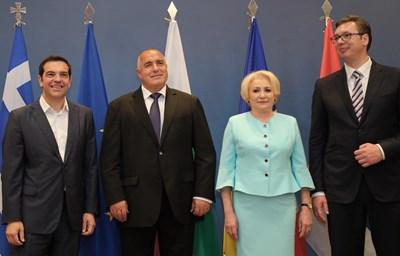 Алексис Ципрас, Бойко Борисов, Виорика Дънчила и Александър Вучич обсъдиха напредъка на транспортните коридори. СНИМКА: Пресслужба На Министерския Съвет