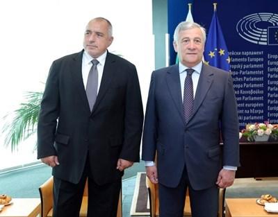 Бойко Борисов и Антонио Таяни в Страсбург през юли 2018 г. Снимка: Архив