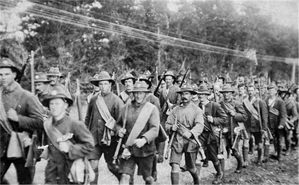 Войници на Антантата по време на поход