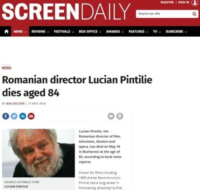 Румънският театрален и филмов режисьор Лучиан Пинтилие Факсимиле: Screen Daily