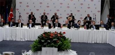 Официалната вечеря, давата от Ердоган. Цветанов (втори отдясно) е настанен близко до домакина. Снимката е от страницата на турския премиер във фейсбук.