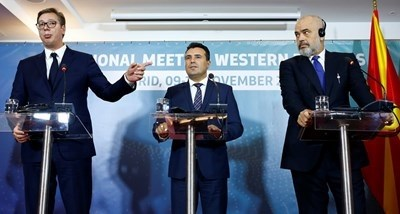 Александър Вучич, Зоран Заев, Еди Рама СНИМКА: Ройтерс