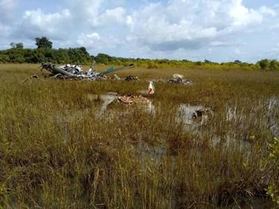 Отломките от хеликоптера са открити близо до границата на Кот д'Ивоар с Буркина Фасо.  СНИМКА: NEW-AFRICA.ORG