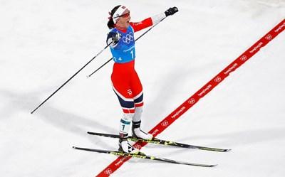 37-годишната ски бегачка от Норвегия Марит Бьорген изравни легендарния си сънародник Оле Ейнар Бьорндален по медали от зимни олимпийски игри СНИМКА: Ройтерс