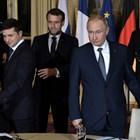 Володимир Зеленски , Еманюел Макрон и Владимир Путин Снимки: Ройтерс