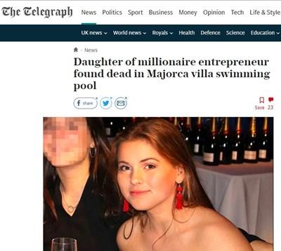 Намериха дъщерята на британска милионерка мъртва в басейн