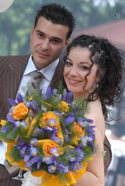 Слави Ангелов и Татяна Тасева в сватбения им ден