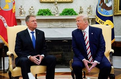 Доналд Тръмп и Клаус Йоханис по време на срещата в Белия дом. Снимка РОЙТЕРС