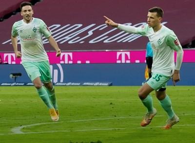 """Максимилиан Егещайн (вдясно) се радва, след като е открил резултата в Мюнхен. Снимка: фейсбук на """"Вердер"""""""