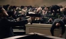 """Партия """"Възраждане"""" със скандален предизборен клип с избиване на депутати. Актьорът, който стреля, е самият Владимир Зеленски"""