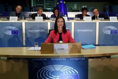Мария Габриел по време на изслушването в Европарламента. СНИМКА: РОЙТЕРС