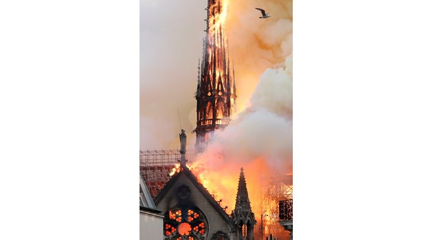 """Кулата-стрела на """"Нотр Дам"""" рухна, обхваната от пламъци (Видео)"""
