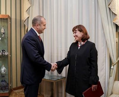 Румен Радев с Теодора Точкова СНИМКИ: Прессекретариатът на президента