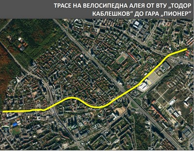 Картата показва откъде ще минава новият линеен парк. СНИМКА: ДЕСИСЛАВА КУЛЕЛИЕВА