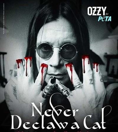 На плакат на РЕТА Ози Озбърн е изобразен с отрязани пръсти и с кръв, стичаща се по ръцете му.