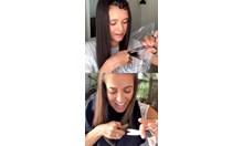 Нина Добрев се подстрига вкъщи под напътствията на холивудски фризьор, облечена в торба за боклук