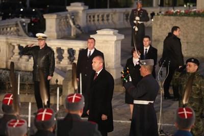 Президентът Румен Радев по време на тържествената заря-проверка по случай националния празник на България - 3 март. Снимки НИКОЛАЙ ЛИТОВ