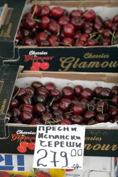На 24 април 2010 г. на софийски пазар продаваха испански череши по 279 лв. за килограм.