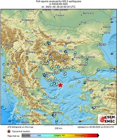 Силен трус в Егейско море усетен и в България (Обновена)
