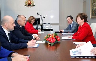 Премиерът на България Бойко Борисов и директорът на Световната банка Кристалина Георгиева  СНИМКИ: Пресслужба на МС